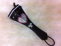Pink Heart - Clear Swarovski w/ One Tuner 1/32 Violin Tailpiece
